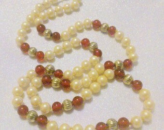 Hand Knotted Glass Pearl and Red Bead Necklace
