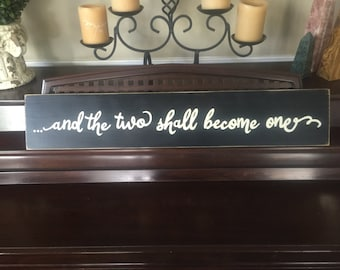 And The Two Shall Become One Sign Christian Ephesians 5:31 Plaque Rustic Bedroom Decor Hand Painted Wood U Pik Colors Wedding Marriage Gift