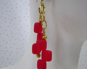 Red Squares and Gold Dangle Earrings