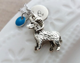 Silver Goat Necklace. Initial Necklace. Silver Goat Pendant. Personalized Gift. Hand Stamped. Ram Necklace, Aries Necklace