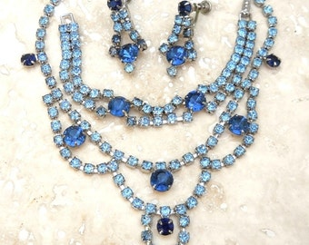 Vintage Blue Rhinestone Necklace, Bracelet and Earrings Demi Parure