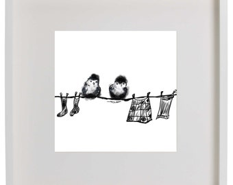 Chicks on the washing line