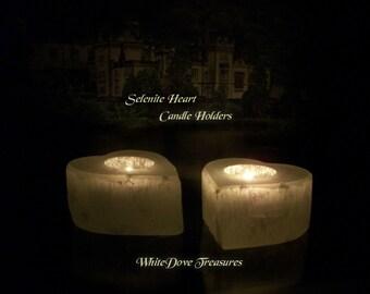 "SELENITE HEART Candle Holder & 3 Tea Lights 4x4"" Lg Crystal White Light Meditation - Romantic Decor - Magic Moon Glow Lovers Gift"