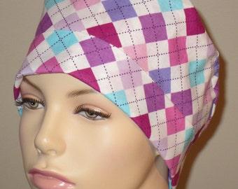 Scrub Hat Purple Argyle
