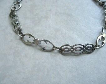 Vintage Celtic Sterling Silver Bracelet Openwork Links