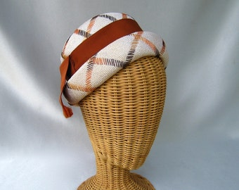 Vintage Ladies Hat Gilbert Orcel Paris Embroidered Straw Toque Cream Brown Orange