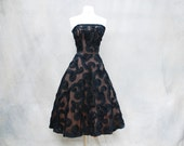 1950s Grace Kelly black strapless cocktail dress / 50s tea length party prom dress - Medium