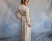 1930s Old Hollywood glamorous ivory satin floor length robe / 30s Jean Harlow boudoir satin/lace bridal dressing gown