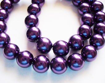 Glass Pearls Purple Round 10MM