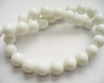 Glass  Beads White Round 10MM