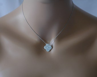 SALE - Clover Necklace,  Single crystallized Clover, Silver and CZ clover necklace, Gift for her, birthday Gift