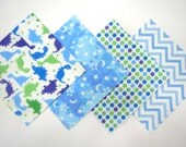 """48 Flannel Quilt Square Kit with 6""""x6"""" Flannel Squares in Fun Dinosaurs, Dots, Stars, Moon and Chevron Prints"""