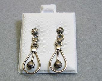 Sterling Silver Dangle Pierced Earrings, Scandinavian Look