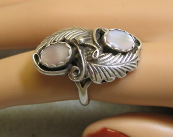Vintage Native American Mother of Pearl Sterling Ring  Size 6, Signed