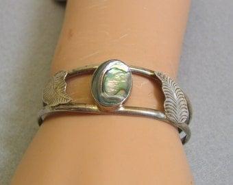 Abalone Cuff Bracelet, Oval Cabochons, Alpaca Metal