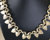 Leaf like gold textured abstract form vintage collar necklace