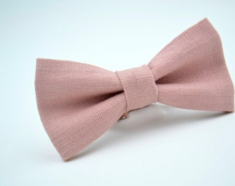 Mens Bowtie in Dusty Pink Linen #1, Mauve Bow Tie, Dusty Pink Bow Tie, Dusty Rose Bow Tie, Groomsmen Bow Tie, Wedding Bow Tie