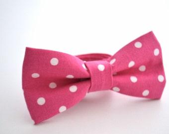 Mens Bowtie in Hot Pink Polka Dot, Pink Bow Tie, Fuchsia Bow Tie, Groomsmen Bow Tie, Adjustable Bow Tie