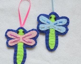 Felt dragonfly ornament