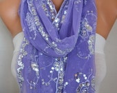 Lilac Sequin Tulle Scarf,Wedding Shawl,Lace Scarf,Cowl Scarf Bridesmaid gift Bridal Accessories Gift Ideas For Her Women Fashion Accessories