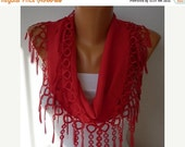 Red Pashmina Scarf Christmas Gift Winter Accessories Cotton Scarf Shawl Scarf Cowl  Gift Ideas For Her Women's Fashion Accessories