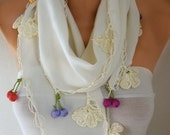 Creamy White Scarf, Fall Winter Accessories, Cotton, Shawl, Cowl Scarf, Gift Ideas For Her, Bridesmaids Gift, Women Fashion Accessories