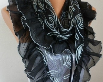Black Scarf Shawl Cowl Scarf Lace Scarf Bridal Accessories bridesmaid gift Gift Ideas For Her Women Fashion Accessories Mother's Day Gift