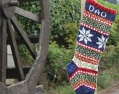 Personalized Holiday Stocking with Snowflakes Knit Fair Isle Handknit Modern Christmas Santa Sock - Custom made to order