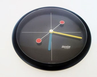 Vintage German Black Wall Clock Young Linde by Junghans