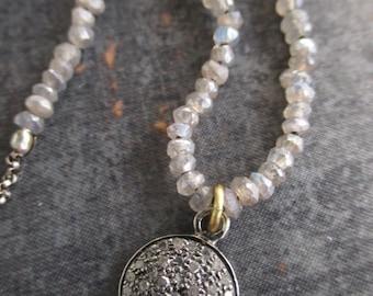 Diamond labradorite knotted necklace - Silver Lining - sterling silver April birthstone dainty gemstone boho by slashKnots