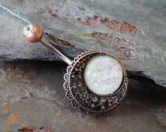 Belly Button Rings Opal Moon Copper