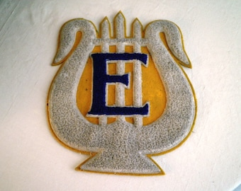1940's Vintage Letter Jacket Patch Letter E School Band Patch