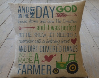 God made a Farmer burlap Pillow | Farmhouse Pillows | French Country | INSERT INCLUDED