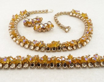 RARE Vintage RIFAS Necklace, Bracelet & Earrings Parure - Golden Topaz  Rhinestones - Crystal Beads KILLER Set!