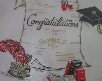 Graduation Themed Paper Table Cover   New Old Stock  Table Cloth