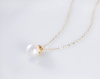 Single pearl necklace on gold filled chain, single drop necklace, available in 8mm and 10mm pearl