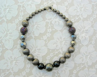 Interesting Vintage Beaded Necklace - onyx, beaded beads, florentined and faceted metal, from Mom's jewelry box