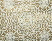 Retro Wallpaper by the Yard 70s Vintage Wallpaper - 1970s Metallic Gold and White Geometric Medallion