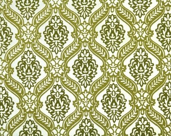 Retro Flock Wallpaper by the Yard 70s Vintage Flock Wallpaper - 1970s Green and Gold Flock Damask