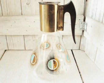 Vintage Atomic Age coffee pot carafe decanter glass mid century 1950s