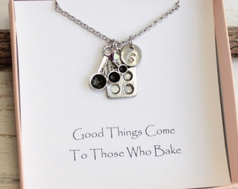 Silver Baking Necklace With Sentiment Card and Your Choice of Initial and Birthstone