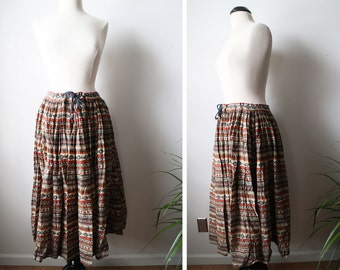 Vintage Beautiful Batik Ethnic Earthy Tones Bohemian Skirt
