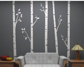 """LIMITED SALE - Birch Tree Wall Decals with Branches Sticker Set - 5 Trees 96"""" Tall Each - Vinyl wall art for decorating"""