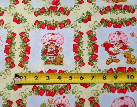 """Strawberry Shortcake Pattern 23550 by SPX Fabrics END Of BOLT 1 3/4 Yards by 44"""" Wide 100% Cotton Quilt Apparel Craft Retro Vintage Fabric"""