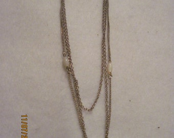 Vintage Avon Gilded Gold 3 Strands w/ Mother of Pearl Necklace..80's ..extremely rare .#591..
