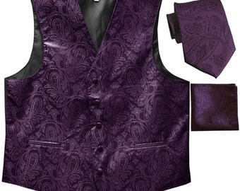 Men's Paisley Dark Purple Polyester Tuxedo Vest with Self Tie Necktie and Handkerchief, for Formal Occasions