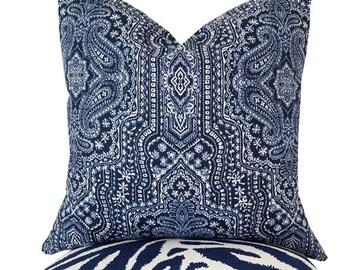 Indigo Pillows - Indigo Decorative Pillow - Paisley Pillow - Ethnic Pillows - Indigo Accent Pillow - Indigo Shams - PILLOW COVER ONLY