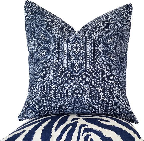 Decorative Pillows Indigo : Indigo Pillows Indigo Decorative Pillow Paisley Pillow