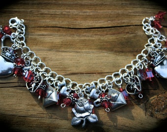 Sweet Hearts Romance Theme Charm Bracelet - True Love - Valentines Day - I Love You - Angel - Roses - Custom Bracelet - Themed Jewelry