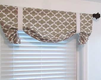 Tie Up Curtain Valance Black And White Damask By